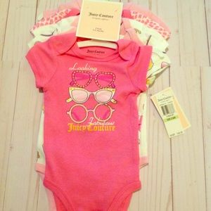 New With Tags Juicy Couture onesies pack 5 3/6m